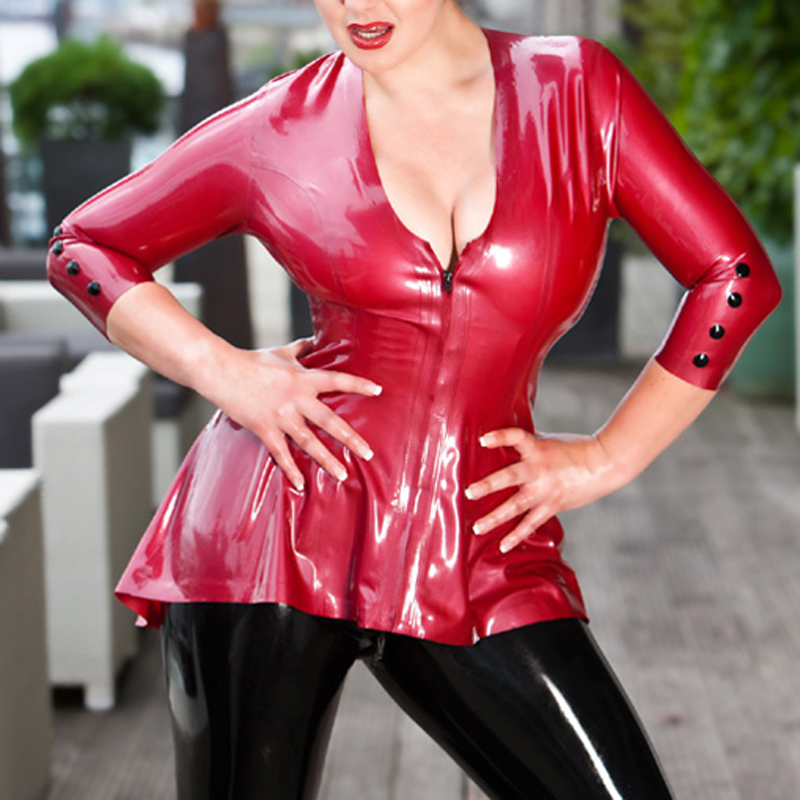 Fashion Women 2015 Sexy Long Sleeves Latex Rubber Top Shirts Red 0.4MM Latex Costume Plus Size Hot Sale