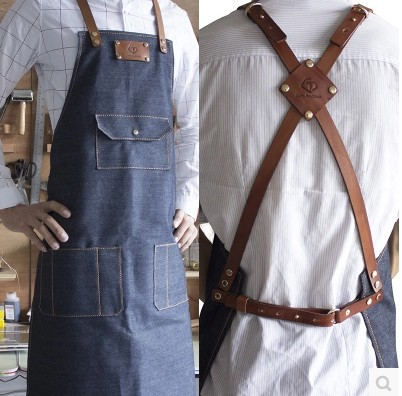 Cotton Deinim Genuine Leather Barista Barber Baker Coffee Bar Customized Apron adjustable For Men Women NO5(China (Mainland))