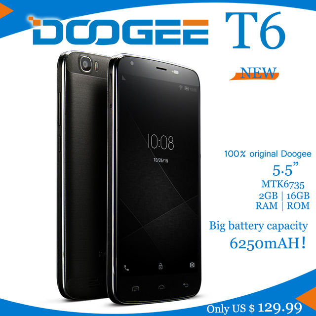 NEW LTE Smartphone Big battery 6250mAH Doogee T6 MTK6735 QuadCore 1.3GHz 5.5Inch HD 2GB RAM+16GB ROM Dual SIM 13.0MP Android5.1