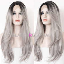 Synthetic Gray Silk Straight Lace Front Wig Glueless Ombre Tone Color Black And Grey Heat Resistant Hair Gray Wigs(China (Mainland))