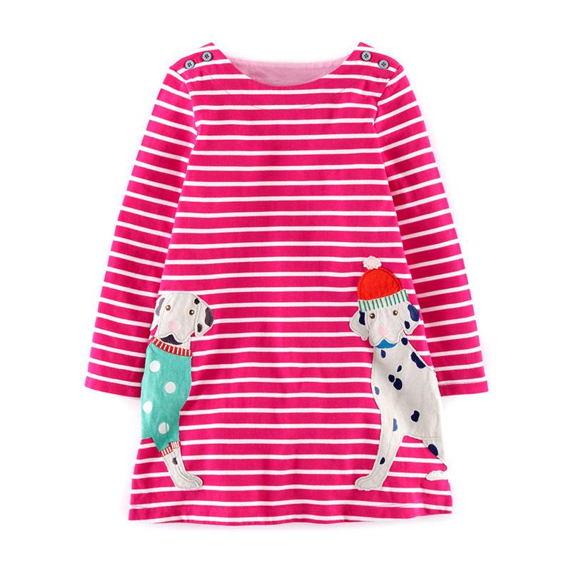autumn/spring clothing girl child dress red stripe with long sleeves Dalmatian design kids girls children dress for children(China (Mainland))
