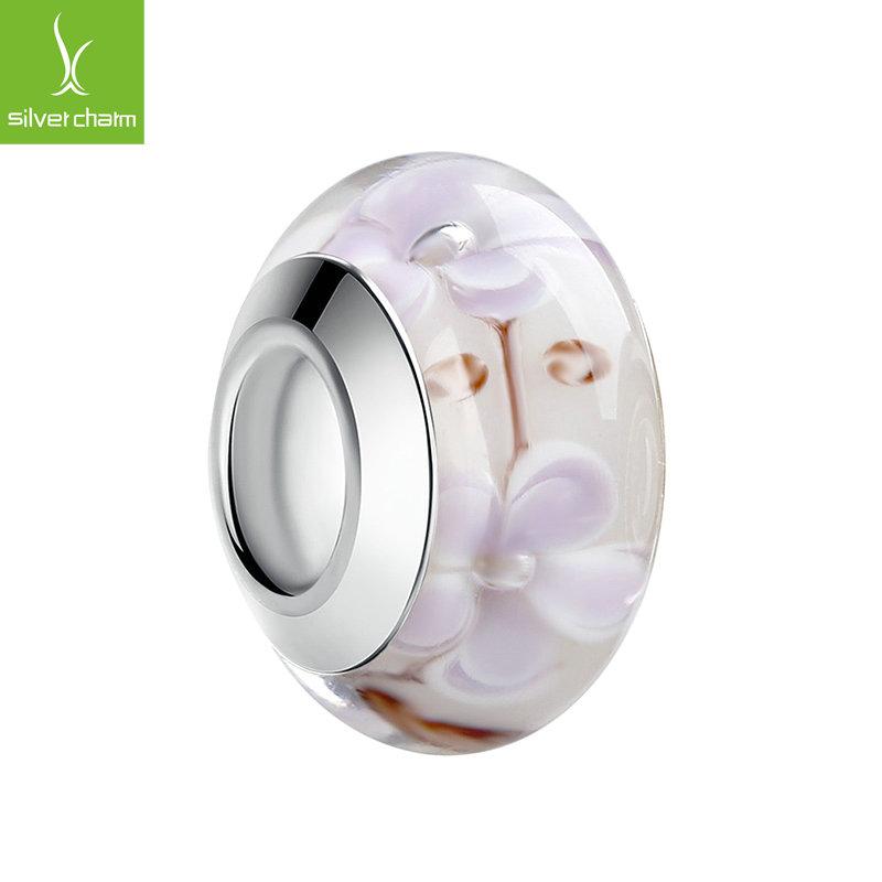 Aliexpress Top Quality Flower White Murano Glass Bead Fit Original Pandora 925 Silver Charm Bracelet Pendant DIY Jewelry Making(China (Mainland))