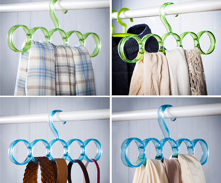 freeshipping!2pcsSimple scarf hanger hanger 5 ring round tie European simple clothes scarves storage rack(China (Mainland))