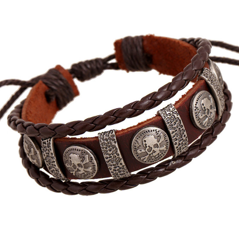 JC Vintage Retro Pulseira Homens Masculina Couro Male Cool Leather Skull Bracelet Biker Mens Leather Jewellery