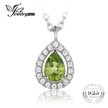 JewelryPalace Pear 0.8ct Natural Peridot 925 Sterling Silver Solitaire Pendant Necklace 18 Inches