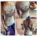 2016 Women Long Sleeve Knitted Sweater Heart Pattern Back Hollow Bowknot Casual Solid Pullover Jumper Top