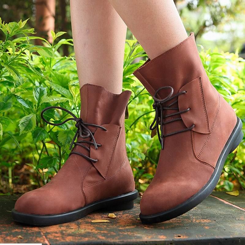 Women boots Botas femininas 2016 new arrival women cowhide leather fashion platform genuine leather ankle boots for women shoes(China (Mainland))