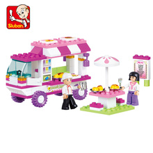 2016 Brand New SLUBAN B0155 Pink Dream Snack Car Building Blocks 102pcs/set Particles Bricks Girls Toys Compatible with Legoe(China (Mainland))