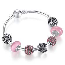Elegant 925 Silver Charm Bracelet Bangle with Open Your Heart & Crown Charm Pink Murano Glass Ball A3070(China (Mainland))