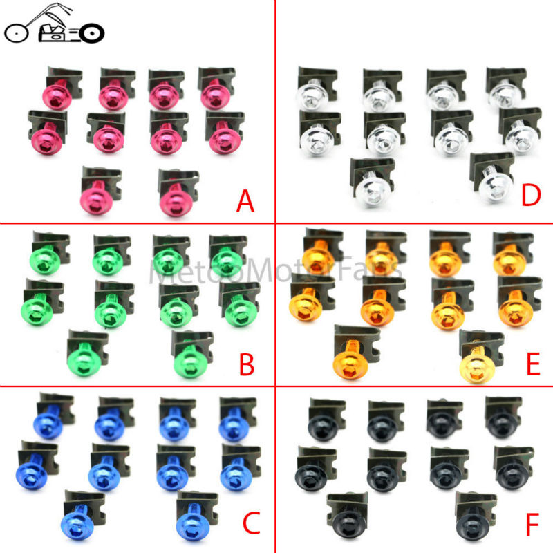 Motofans - 10x Motorcycle Bike Scooters Fairing Body Work Bolts M6 6mm Spire Speed Fastener Clips Screw Spring Bolots Nuts Bulk(China (Mainland))