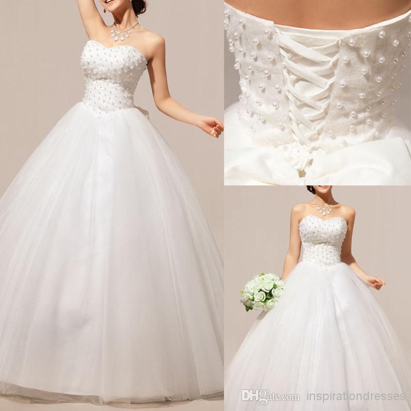 Cinderella Ball Gown Wedding Dresses 2015 Pearls