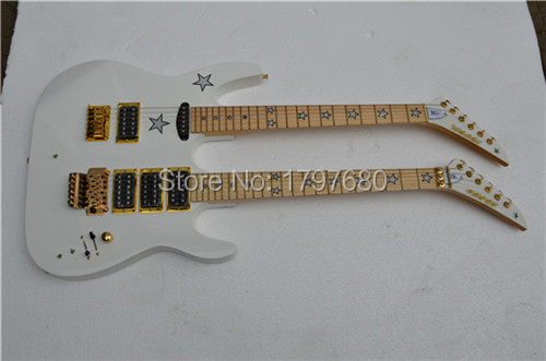 High quality Double neck Guitar White Kramer electric guitar with golden hardware and Five-pointed star inlay on fretboard(China (Mainland))
