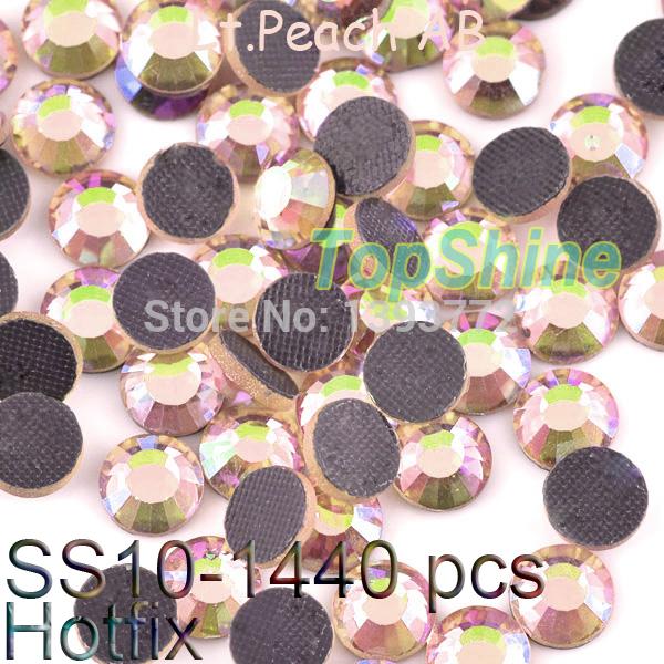 Lt.Peach AB DMC Hot fix ss10 2.7-2.9mm Loose Clear Stones Flat Back Strass More Bright 288pcs/bag Hotfix Rhinestones For Garment(China (Mainland))