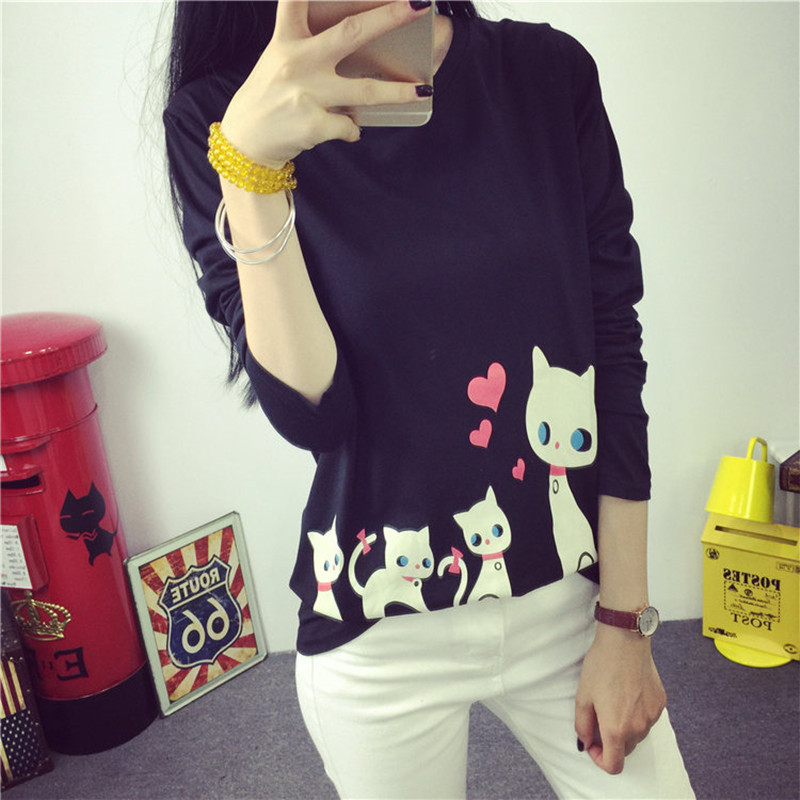 Autumn Style Cat Printed Hoodies New Fashion O-neck Pullovers Harajuku Animal Love Sweatshirt Casual Sport Suit HO8289(China (Mainland))