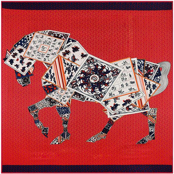130*130cm bufanda cuadrada 2015 female fashion women's silk shawls and scarves Dots Flutter kema Horse Square Scarf for women(China (Mainland))