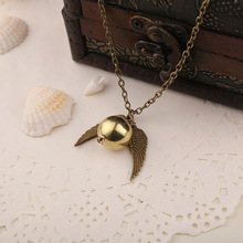BraveMan Movie Jewelry Harry Potter Quidditch Golden Snitch Pendent Necklace Vintage Angel Wing Charms Necklaces Men