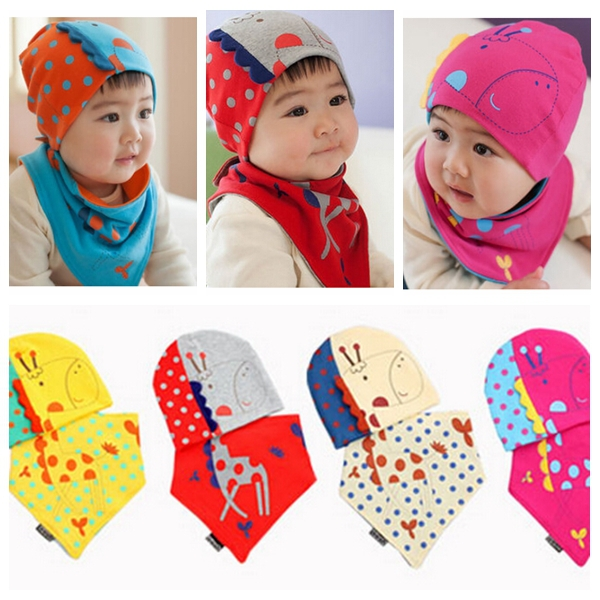 2014 new fashion cartoon Adjustable baby bibs scarf 3D fawn hat baby beanie cap for babies boys girls clothes bib wear BH20(China (Mainland))