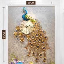 Moda paw ścienne zegar do dekoracji domu ścienny zegarek nowoczesny Design salon sypialnia cichy zegar ścienny metalowy cyfrowy zegary ścienne(China)