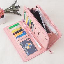 Fashion Womens long Wallets females PU Leather Zipper Wallet lady Clutch Purses women Wristlet belt Handbags credit cards holder