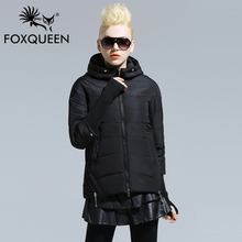 Foxqueen 2016 Spring New Women Long Jacket Hooded Padded Cotton Coat High Quality Thin Bomber Jacket