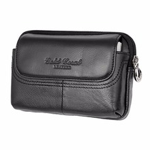 Buy Genuine Leather Cowhide Men Fanny Waist Belt Bag Casual Hip Bum Small Bag Male Brand Famous Cell/Mobile Phone Case Purse Bags for $18.98 in AliExpress store
