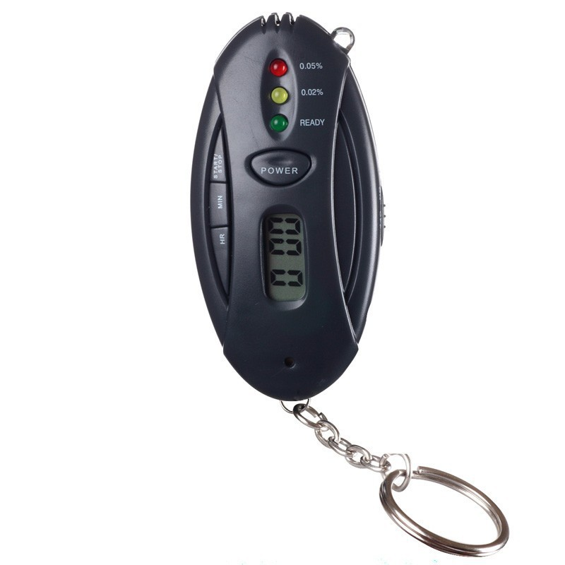 10 pcs/lot 3 in 1 Multifunctional Keychain Digital LCD Alcohol Analyzer Tester Breath Breathalyzer with Torch, Timer, Retail Box(China (Mainland))