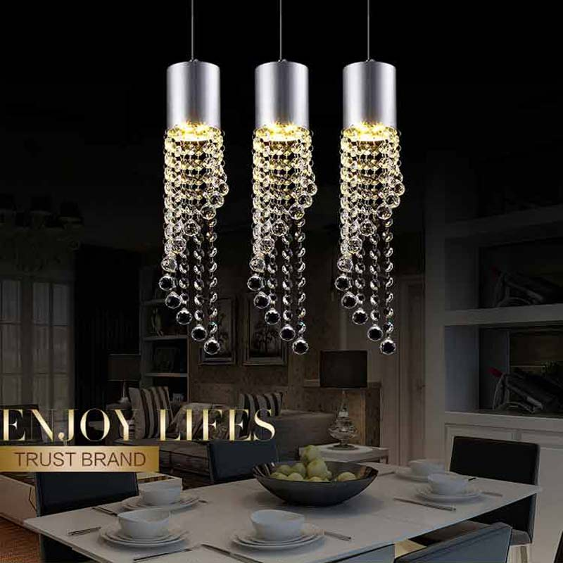 5W Led Lamp Modern Crystal Pendant Light Kitchen Dining Room Shop Silver Metal 3 Heads Home Rope Lighting Fixtures 220V(China (Mainland))