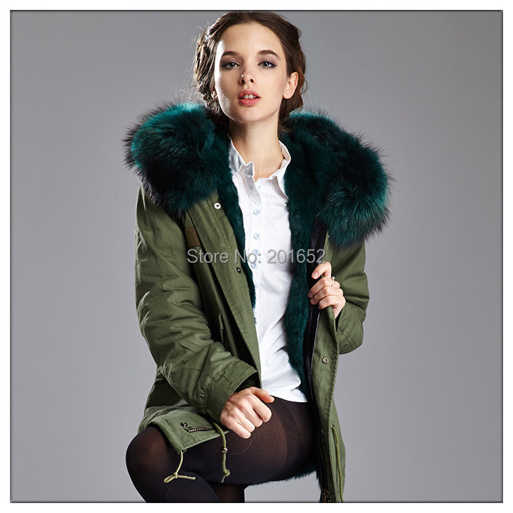 2015 new arrived factory price men women ARMY MINI PARKA PATCH real fur coat mr mrs - Harve leger store