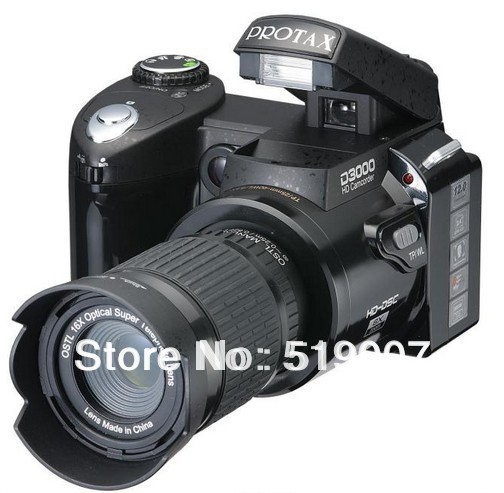 "New D3000 Digital Camera DSLR 16MP 16X Digital Zoom With 21X Optical Zoom Telephoto Lens,3.0""LCD+Russian Languages,Free Shipping"