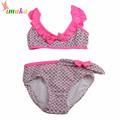 2016 Cute Pink Girls Two Piece Children Bikini Swimwear Swimsuit Kids Flower Floral Swim Bathing Suit