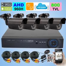 4ch sistema cctv 960 h ahd dvr 4 pz 800tvl ir impermeabile dell'interno del cctv telecamera esterna sistema di sicurezza domestica di sorveglianza kit(China (Mainland))