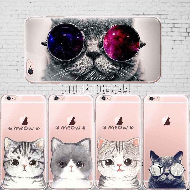 Cute Cat with Glasses Pattern Case Cover For iphone 6 6S Transparent Soft Silicone Cell Phone Cases(China (Mainland))