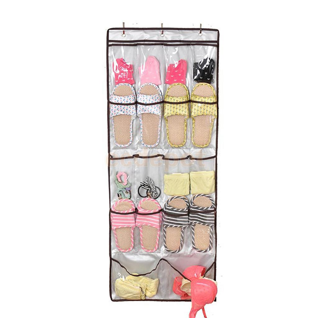 18 Pocket Shoe Space Door Hanging Organizer Storage Silver Bag Closet Holder(China (Mainland))