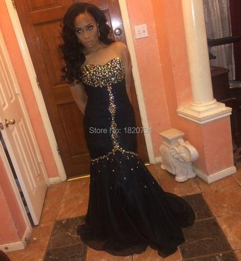 Mermaid Prom Dresses 2016 Sweetheart Beaded Gold Rhinestones Pleats Customized Black Formal Evening Party Gowns Chiffon  -  Roselover store