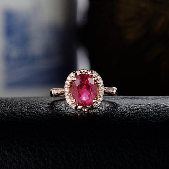 I Love Natural Tourmaline Ring With Diamond In Solid 18Kt Rose Gold Wed Ring For Engage Oval 7x9mm WU248(China (Mainland))