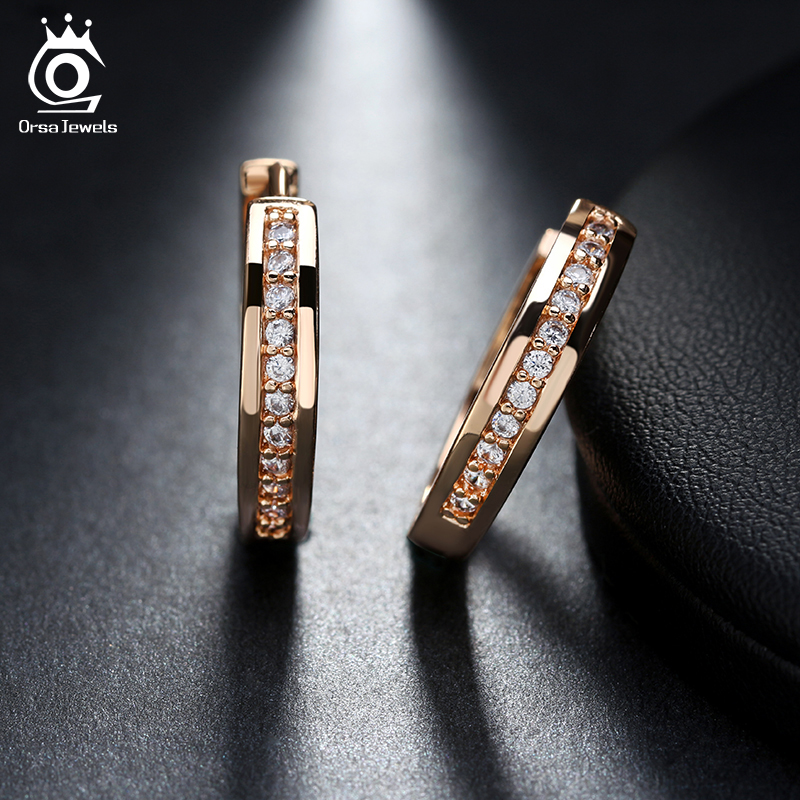 ORSA JEWELS New Trendy Champagne Gold-Color&Silver Color Cubic Zirconia Simple Item Female Earrings Hoop Jewelry for Women OME34(China (Mainland))