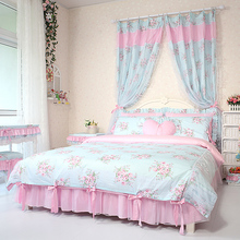 Accept Custom Brand Bedding Set King Size Queen Twin Full Bedclothes For Kids Cotton Duvet Cover Bed Skirt Ruffle Bedskirt Sets(China (Mainland))