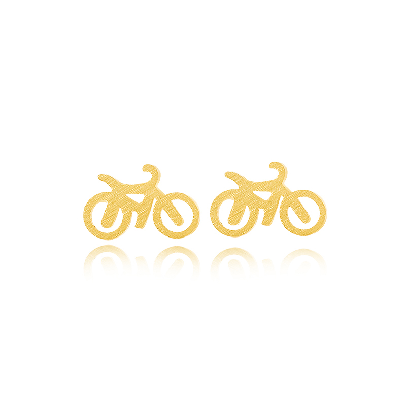 2016 SALE! Minimalist Cute Gold Bicycle Earrings Man Stainless Steel Earring Set Gothic Small Earrings Fashion Man Jewelry(China (Mainland))