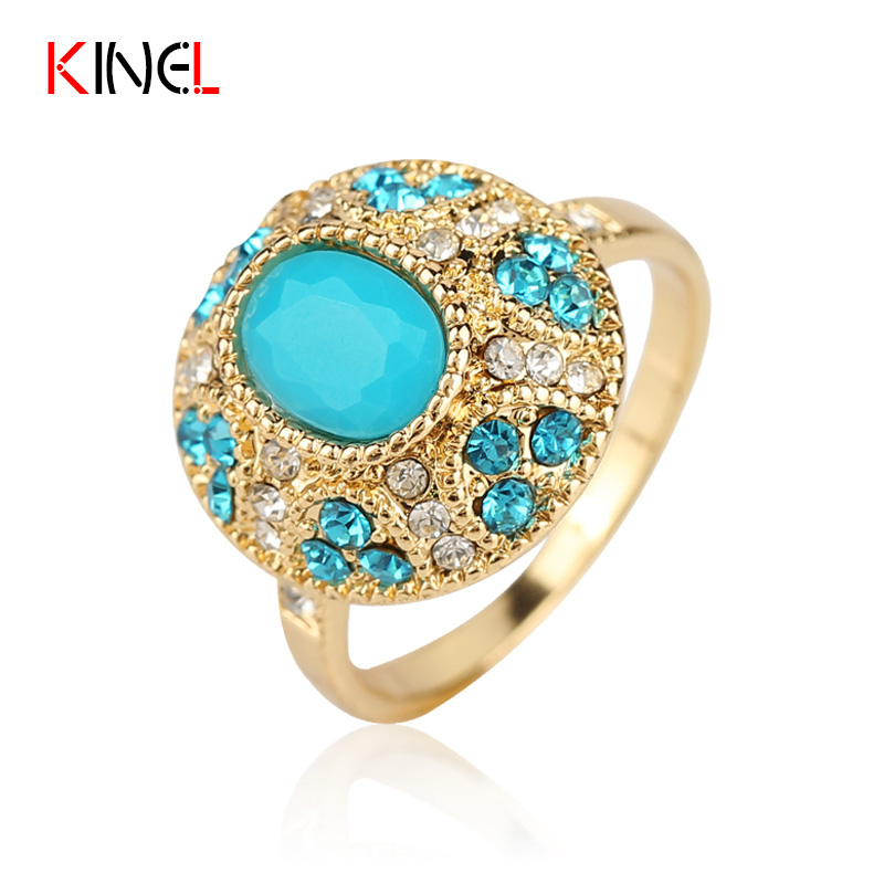 Unique Engagement Little Fresh Ring For Women 18K Gold Plated CZ Diamond Mosaic Turquoise Fine Jewelry Cute Bohemia Ring(China (Mainland))