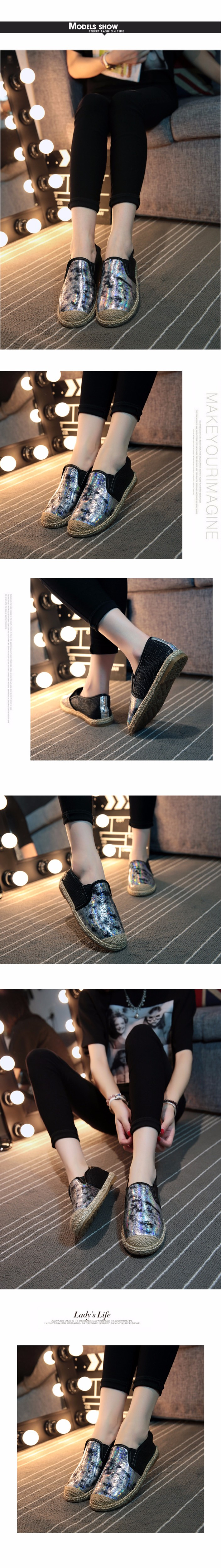 2016 Spring Summer Women Flat Shoes Sequins Style Loafers Shoes a Pedal Lazy Single Shoes For Women  White Black ZK3.5