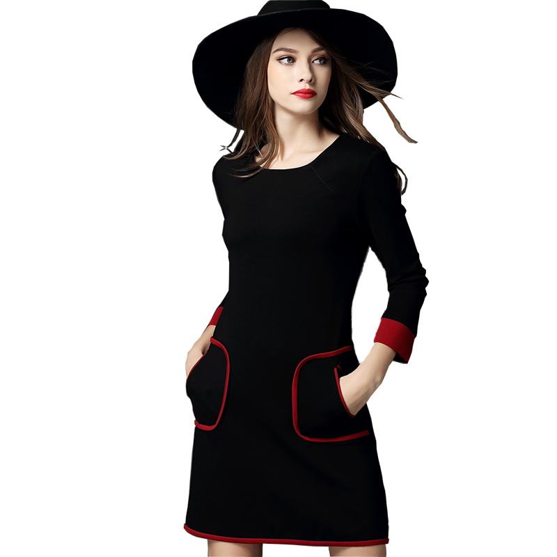 Women Dress 2016 Spring Autumn Three Quarter Sleeve Vintage Pockets Ladies Work Bodycon Office Dress Robe Femme Vestidos Mulher