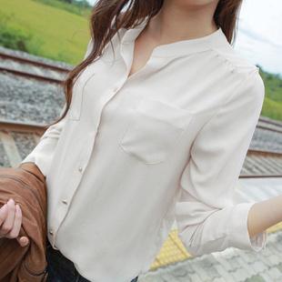 New 2014 Chiffon Women Blouse White Fashion OL Shirts Long Sleeve Spring Pocket Women Work Wear Blouses 5 colors Free shipping(China (Mainland))