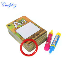 English Learning card Magic Water Drawing book with 2 Magic Pen letter card Painting Board Educational Toys for kids CP1390(China (Mainland))
