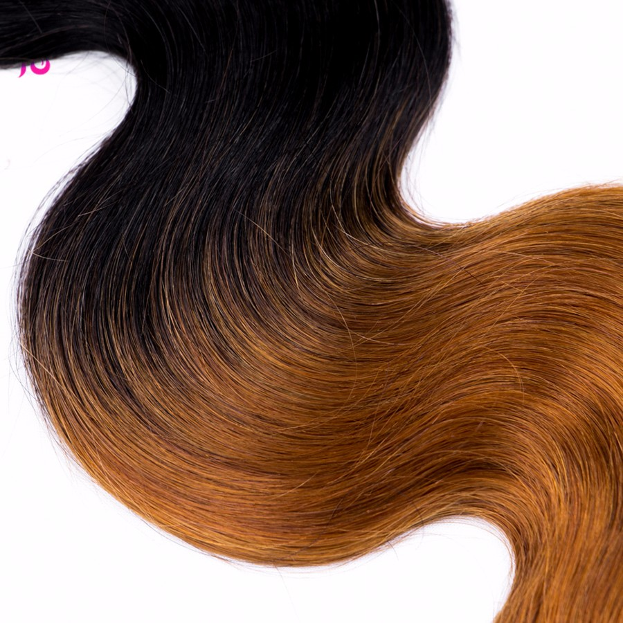 Ombre Brazilian Body Wave With Closure 7a Brazilian Virgin Hair With Closure 3 Bundles 1b/30 Tissage Bresilienne Avec Closure JS