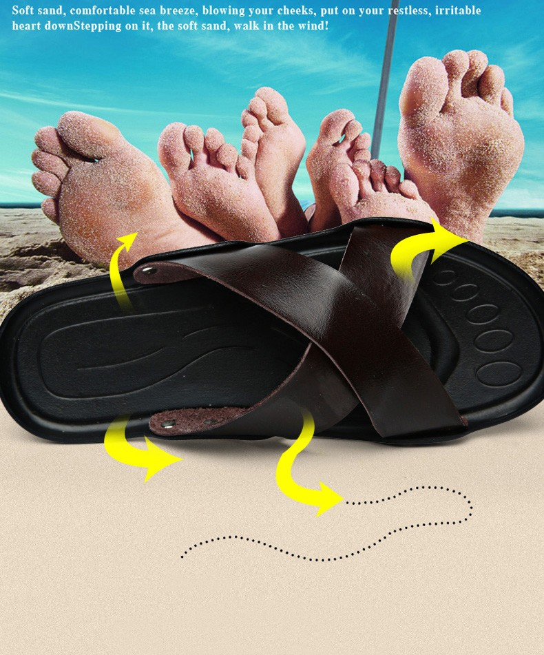 summer tide mens slippers British fashion men sandals genuine cow leather lazy beach sandals flip flops men summer shoes
