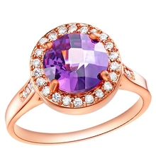 925 Sterling Silver Rings for Women Anel Feminino Female Purple Red Simulated Diamond Ruby Ring Rose Gold Plated Ulove J203