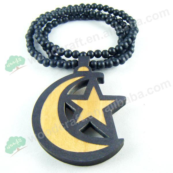 2015 New arrival HQ Star Moon good wood Hip hop necklace jewelry HIP HOP FOR MEN Wood Pendant Chain Fast Shipping(China (Mainland))