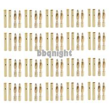 Free shipping 20 Pairs 2mm Bullet Banana Plug Connector for RC Battery Gold Plated(China (Mainland))