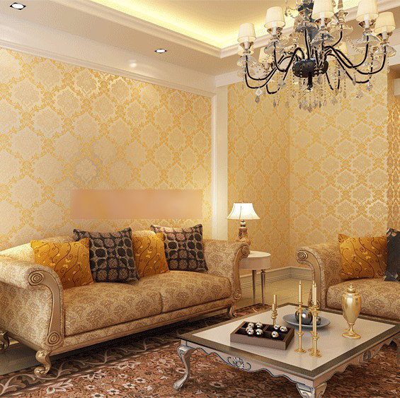 Modern texture damask wallpaper beige wall paper flocked for Living room paper