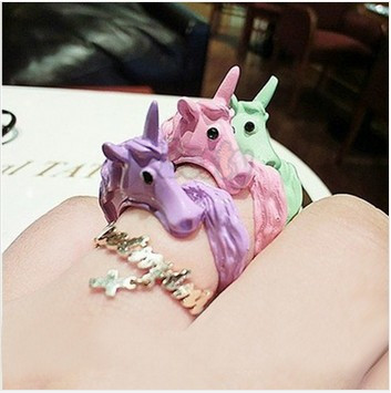 Hot Sell Candy Color Lovely Adjustable Enamel Horse Party Ring Anel Femininos Aneis Unicorn Rings For Women 5Color(China (Mainland))